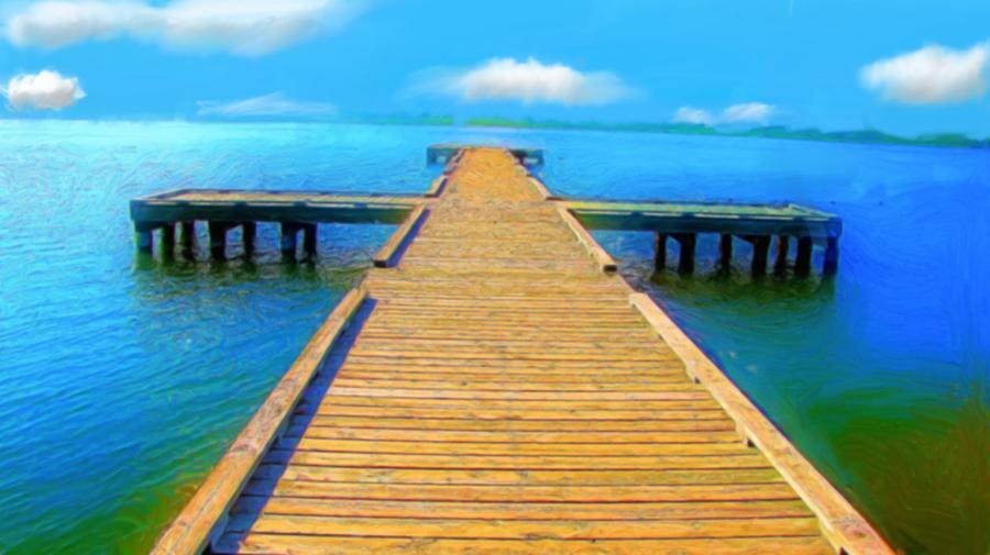 Walk The Long Pier Digital Art  - Walk The Long Pier Fine Art Print