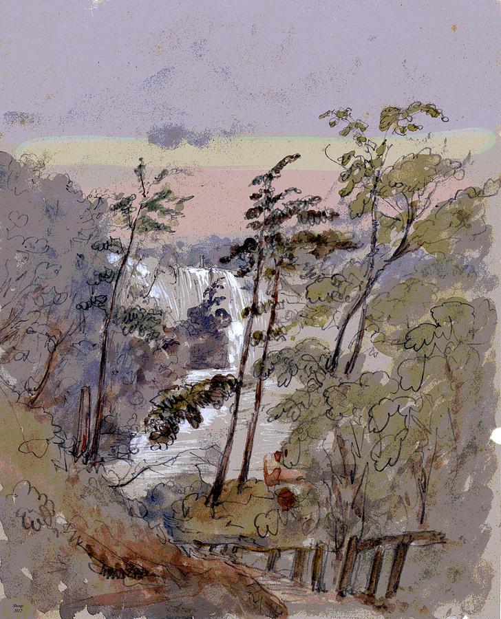 Falls Mixed Media - Walk To The Falls by Charles Shoup