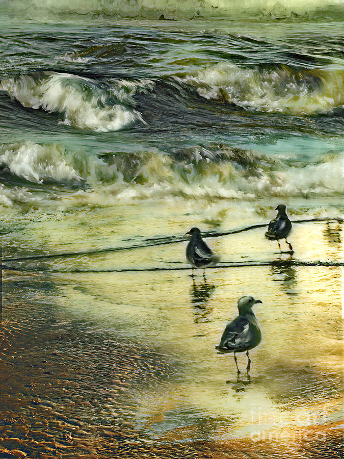 Walking At Beach Painting  - Walking At Beach Fine Art Print