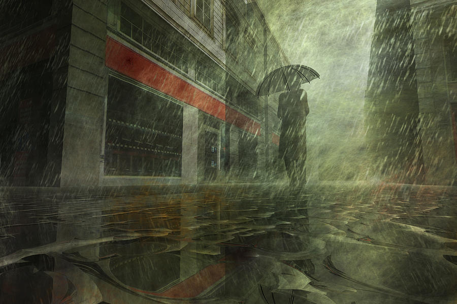Alone Digital Art - Walking In The Rain by Carol and Mike Werner