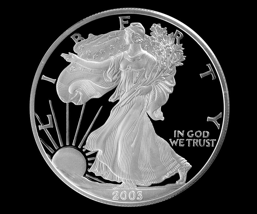 Walking Liberty Proof Silver Dollar Photograph  - Walking Liberty Proof Silver Dollar Fine Art Print