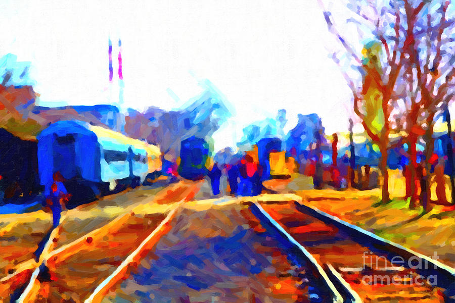 Walking On The Train Tracks In Old Sacramento California . Painterly . Vision 2 Photograph  - Walking On The Train Tracks In Old Sacramento California . Painterly . Vision 2 Fine Art Print