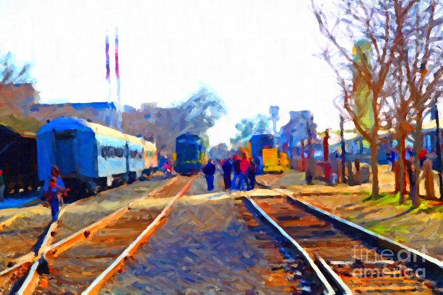 Walking On The Train Tracks In Old Sacramento California . Painterly Photograph