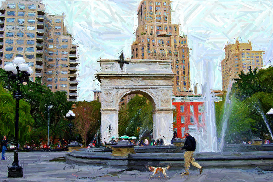 Walking The Dog At Washington Square Park Digital Art  - Walking The Dog At Washington Square Park Fine Art Print