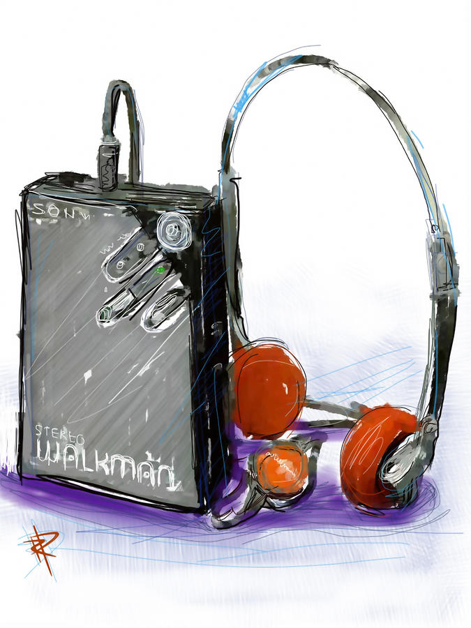 Walkman Digital Art  - Walkman Fine Art Print