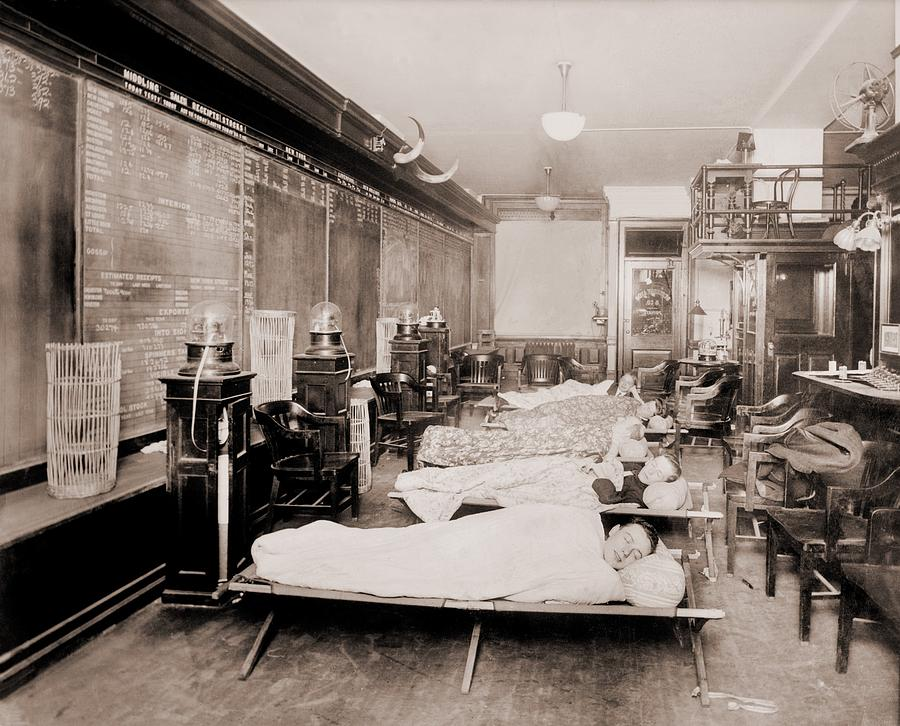 Wall Street Clerks Sleeping In Office Photograph