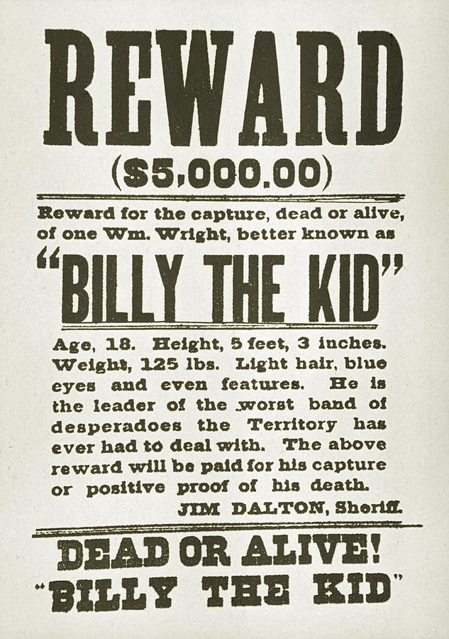 Wanted Poster For Billy The Kid Photograph  - Wanted Poster For Billy The Kid Fine Art Print