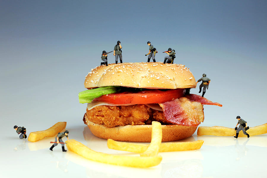 War On A Hamburger II Photograph  - War On A Hamburger II Fine Art Print