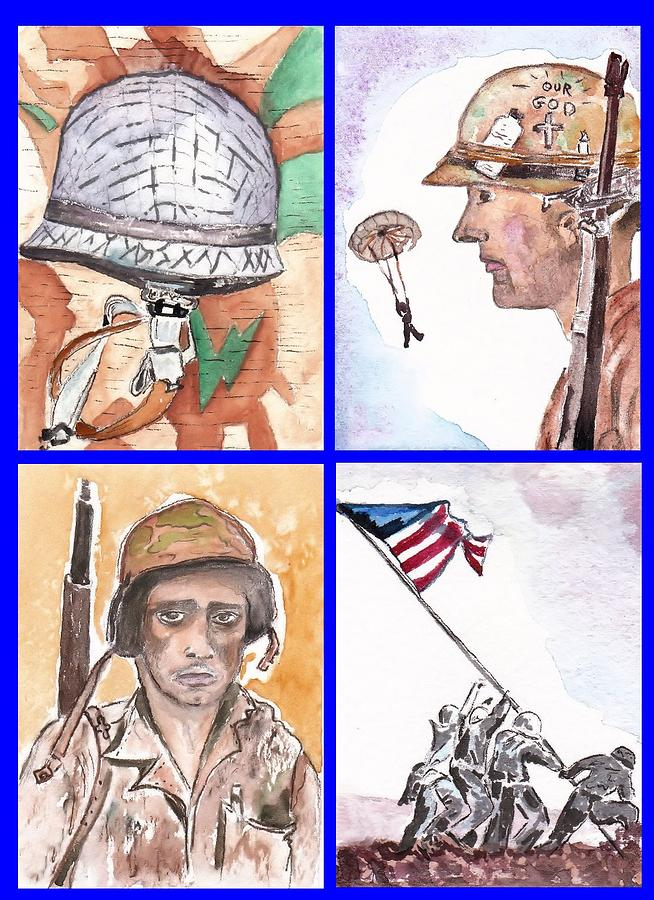 Soldiers Painting - War Watercolor Collage by Myrna Migala