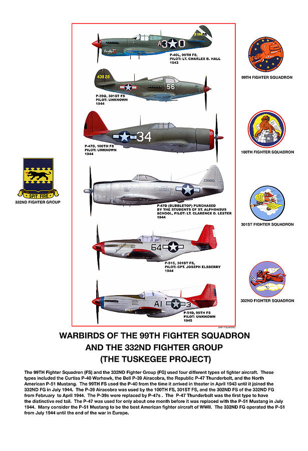 Warbirds Of The 99th Fighter Squadron And 332nd Fighter Group   Tuskegee Project Digital Art  - Warbirds Of The 99th Fighter Squadron And 332nd Fighter Group   Tuskegee Project Fine Art Print