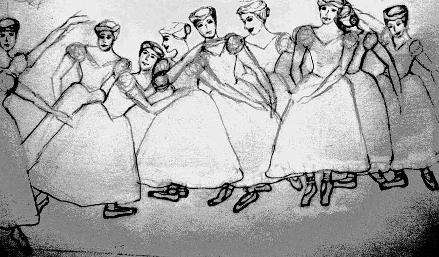 Warming Up - The Ballet Chorus Drawing