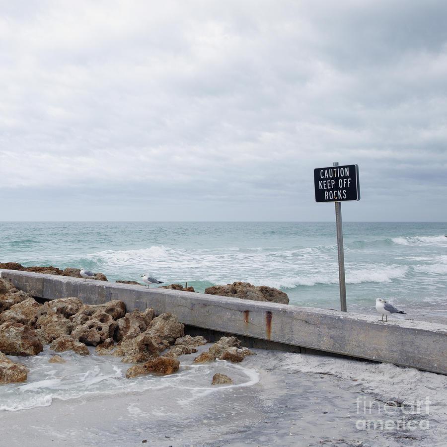 Beach Photograph - Warning Sign At The Beach by Skip Nall