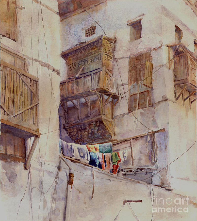 Washday Jeddah Painting  - Washday Jeddah Fine Art Print