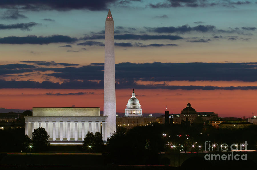 Washington Dc Landmarks At Sunrise I Photograph  - Washington Dc Landmarks At Sunrise I Fine Art Print