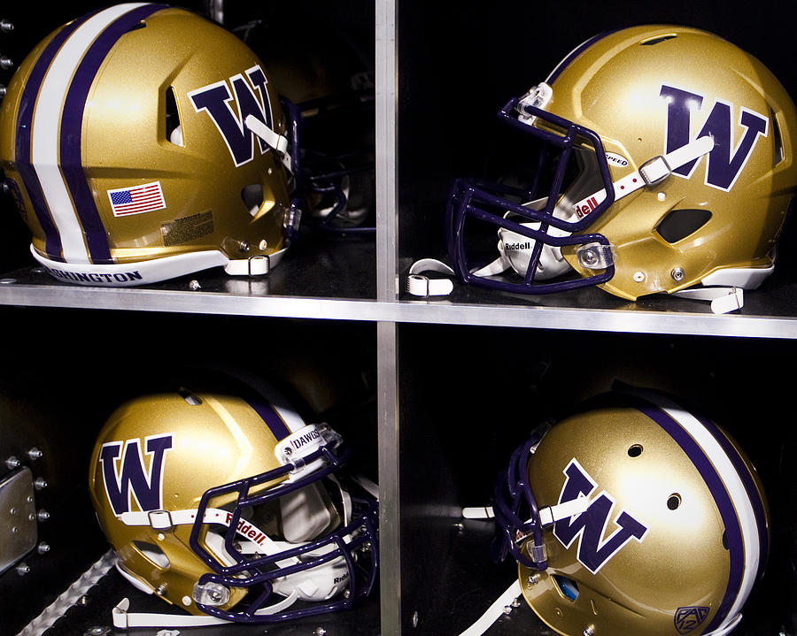 Washington Huskies Football Helmets  Photograph  - Washington Huskies Football Helmets  Fine Art Print