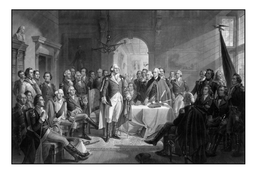 Washington Meeting His Generals Drawing  - Washington Meeting His Generals Fine Art Print