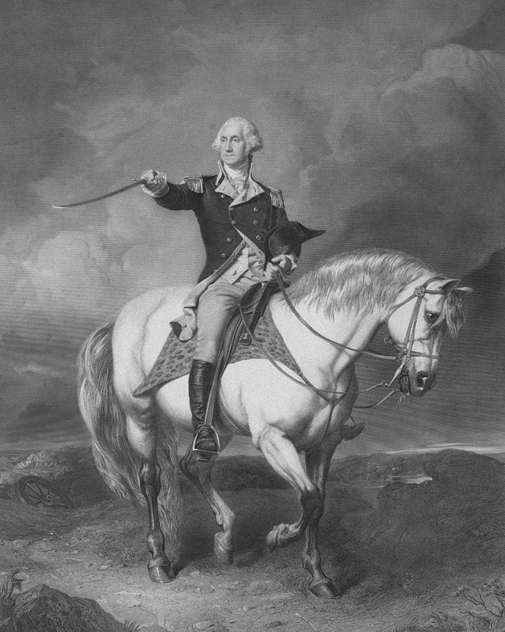 Washington Receiving A Salute At Trenton Drawing