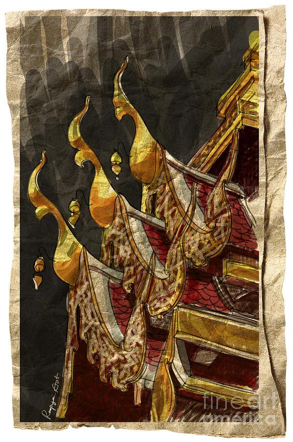 Ancient Painting - Wat Chai Mong Khon. by Panupong Roopyai