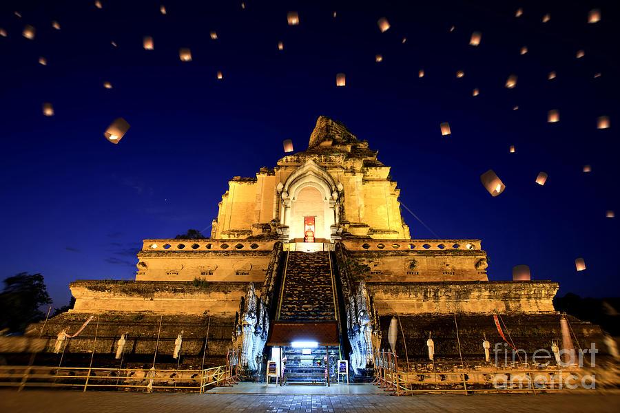 Air Photograph - Wat Chedi Luang by Anek Suwannaphoom