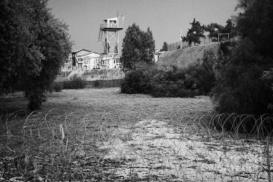 watchtower in restricted area of the UN buffer zone in the green line dividing north south cyprus Photograph  - watchtower in restricted area of the UN buffer zone in the green line dividing north south cyprus Fine Art Print