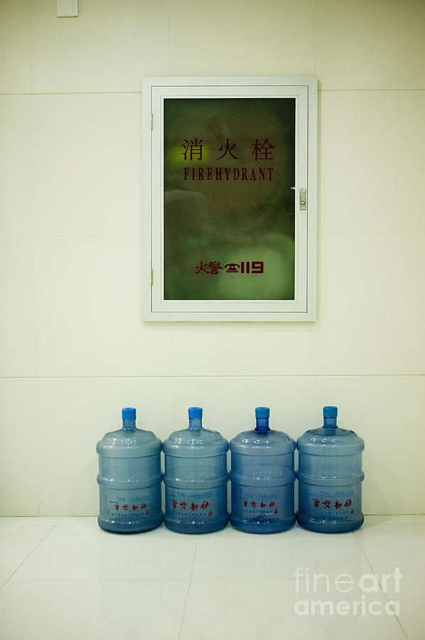 Water Cooler Bottles And Fire Hydrant Cabinet Photograph  - Water Cooler Bottles And Fire Hydrant Cabinet Fine Art Print
