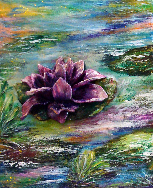 Water Lilies Acrylic Painting - Water Lilies - Two Pieces by Raya Finkelson