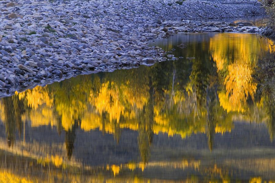 Water Reflections With A Rocky Shoreline Photograph