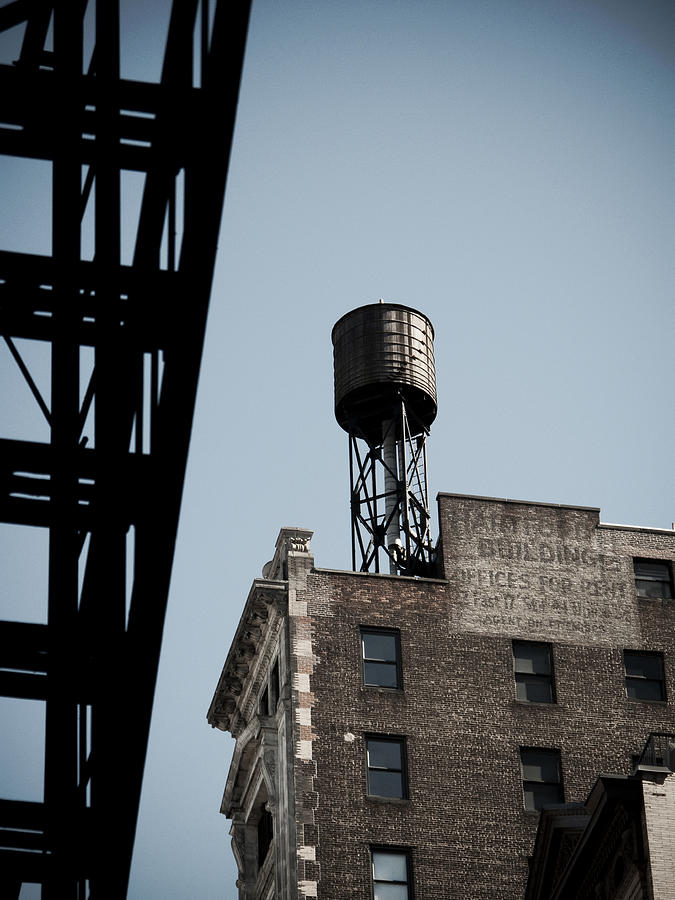Water Tower And Fire Escape Photograph