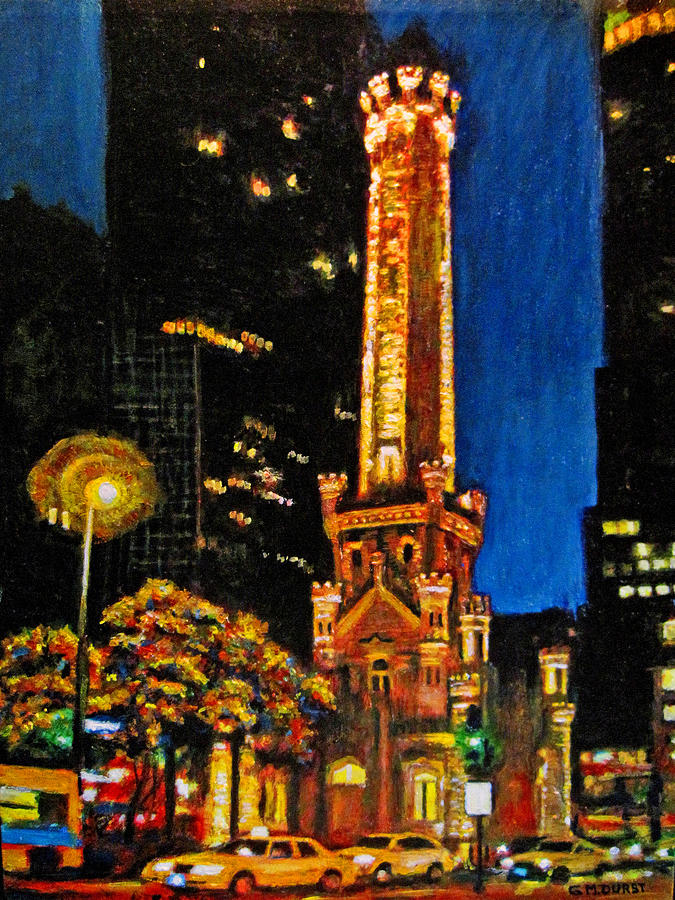 Water Tower At Night Painting
