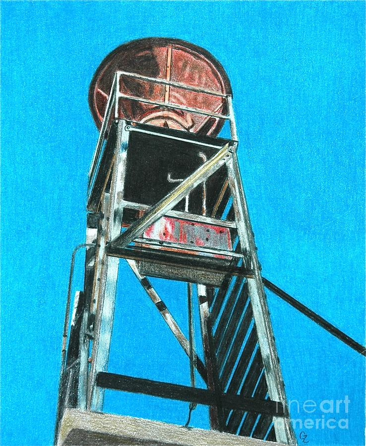 Water Tower Drawing  - Water Tower Fine Art Print