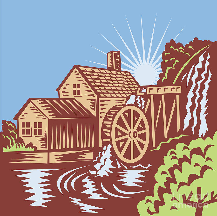 Water Wheel Mill House Retro Digital Art  - Water Wheel Mill House Retro Fine Art Print