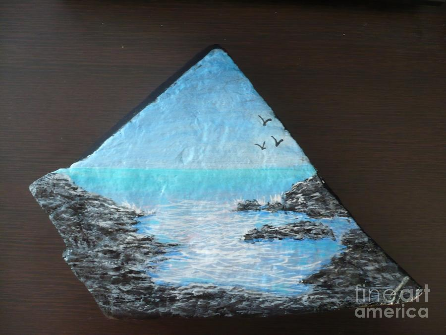 Water With Rocks Painting