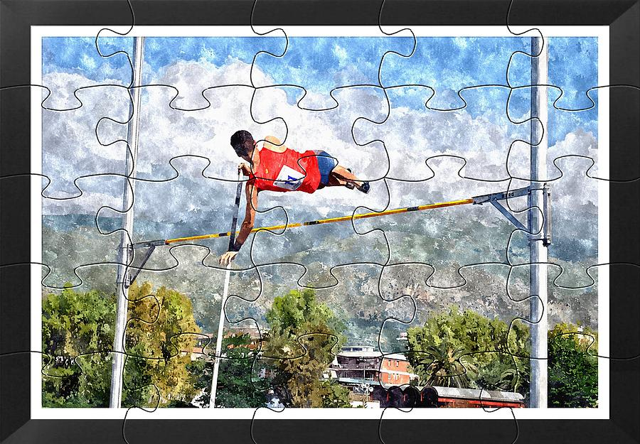 Watercoler Puzzle Design Of Pole Vault Jump Painting
