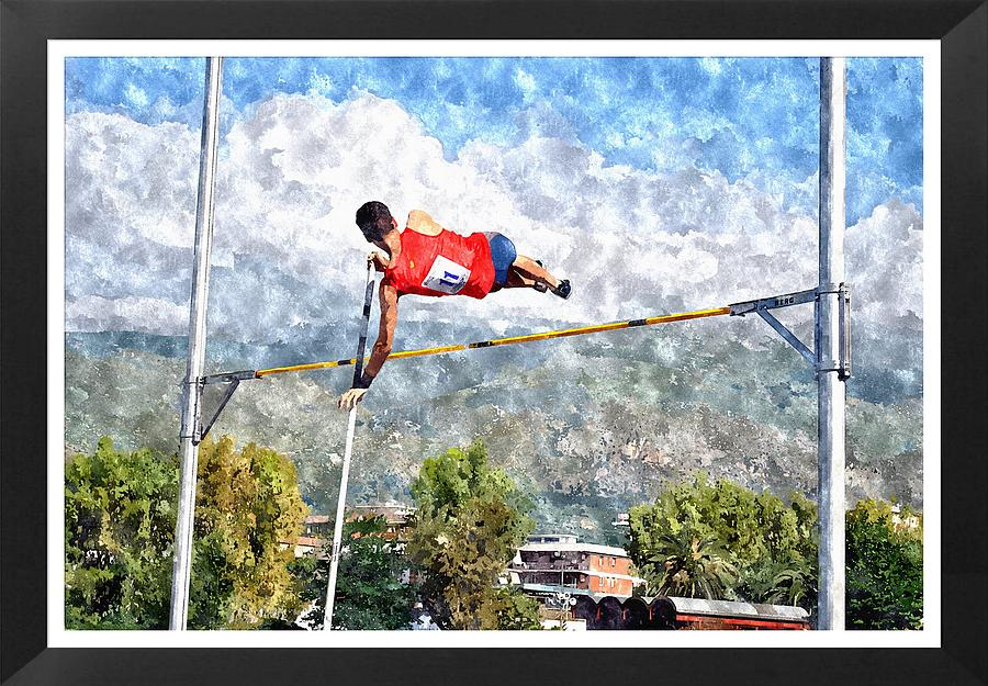 Sport Designs Painting - Watercolor Design Of Pole Vault Jump by John Vito Figorito