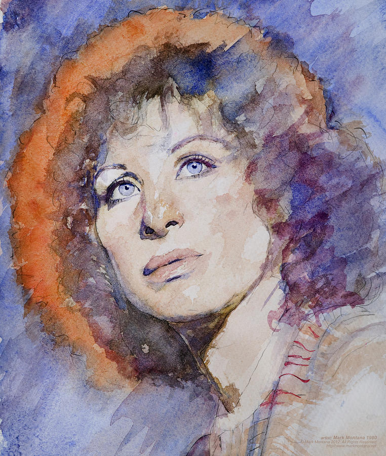 Watercolor Of Barbra Streisand Super High Res  Painting