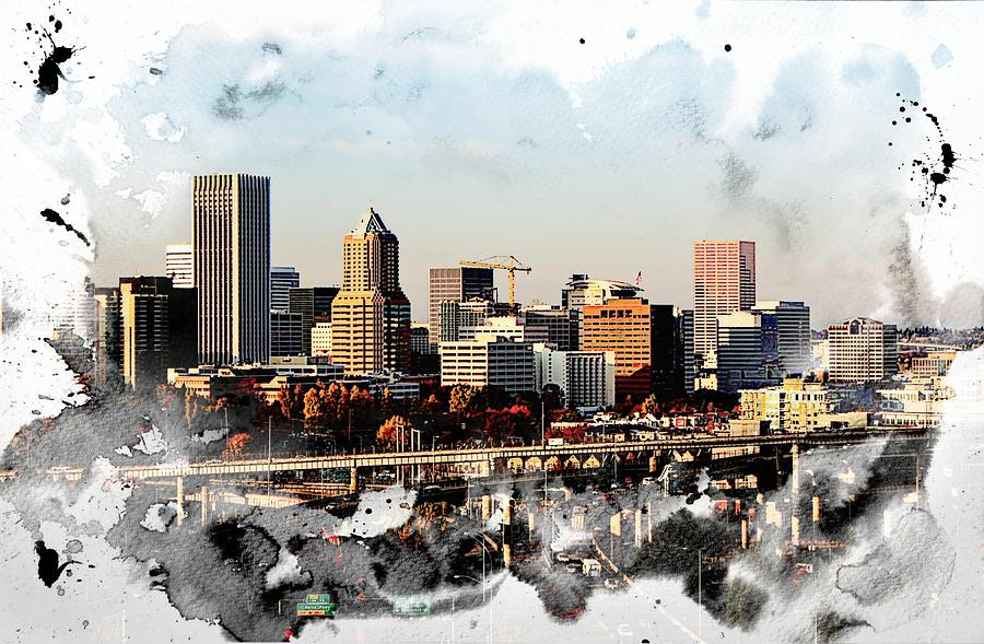 Watercolor Of Downtown Portland Photograph