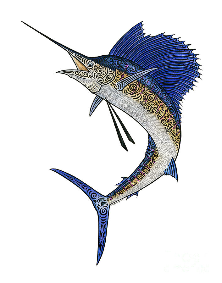 Watercolor Tribal Sailfish Mixed Media  - Watercolor Tribal Sailfish Fine Art Print