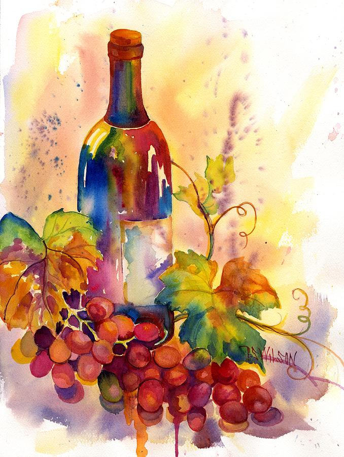 Watercolor Wine Painting