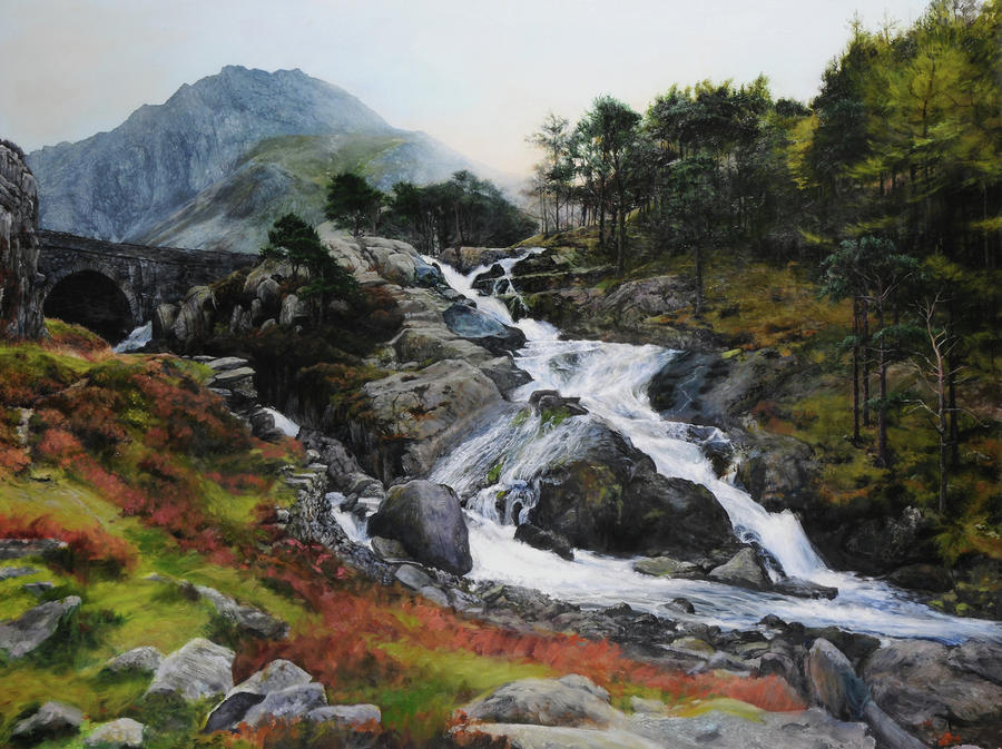 Waterfall In February. Painting