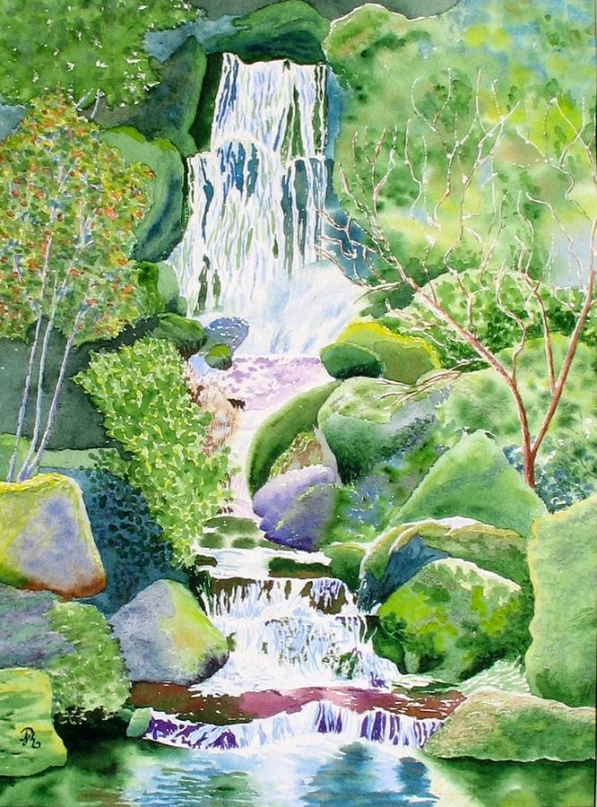 Waterfall in japanese garden painting