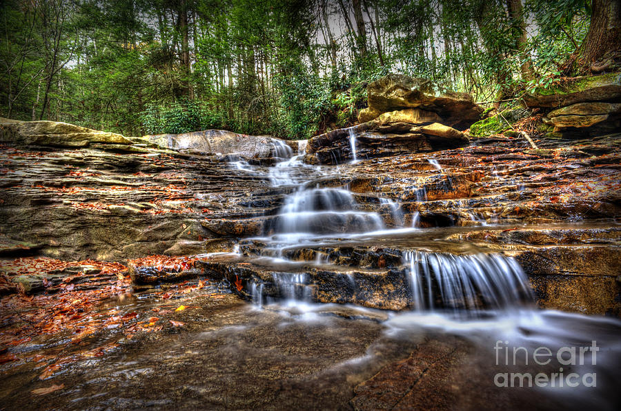 Waterfall On Small Creek Going Into The Big Sandy River Photograph