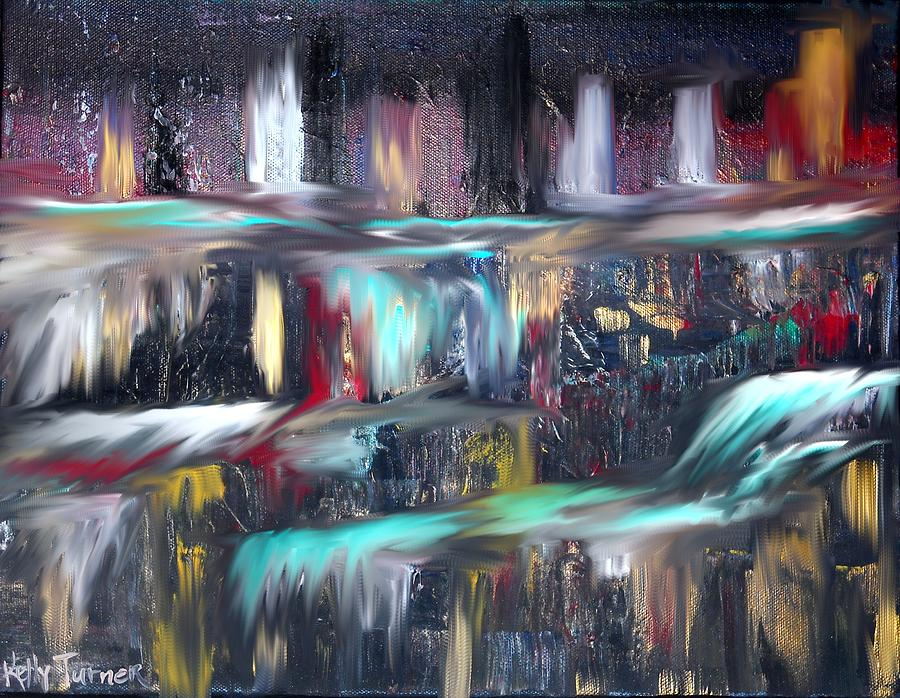 Waterfalls  Painting  - Waterfalls  Fine Art Print