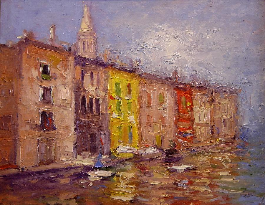 Waterfront In Rovinj Croatia Painting  - Waterfront In Rovinj Croatia Fine Art Print