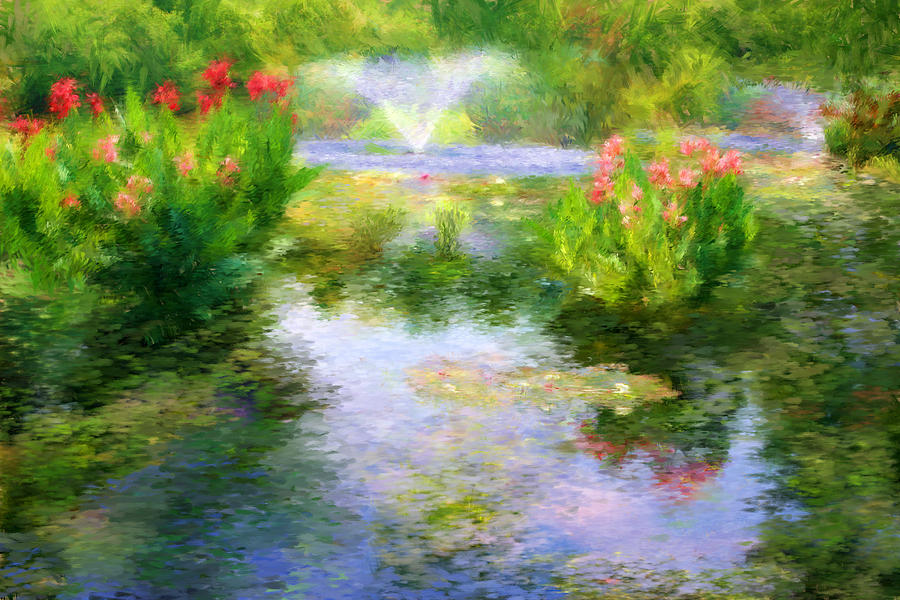 Watergarden In Monet Style Digital Art  - Watergarden In Monet Style Fine Art Print