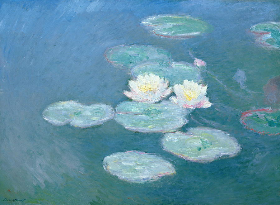 Waterlilies Evening Painting  - Waterlilies Evening Fine Art Print