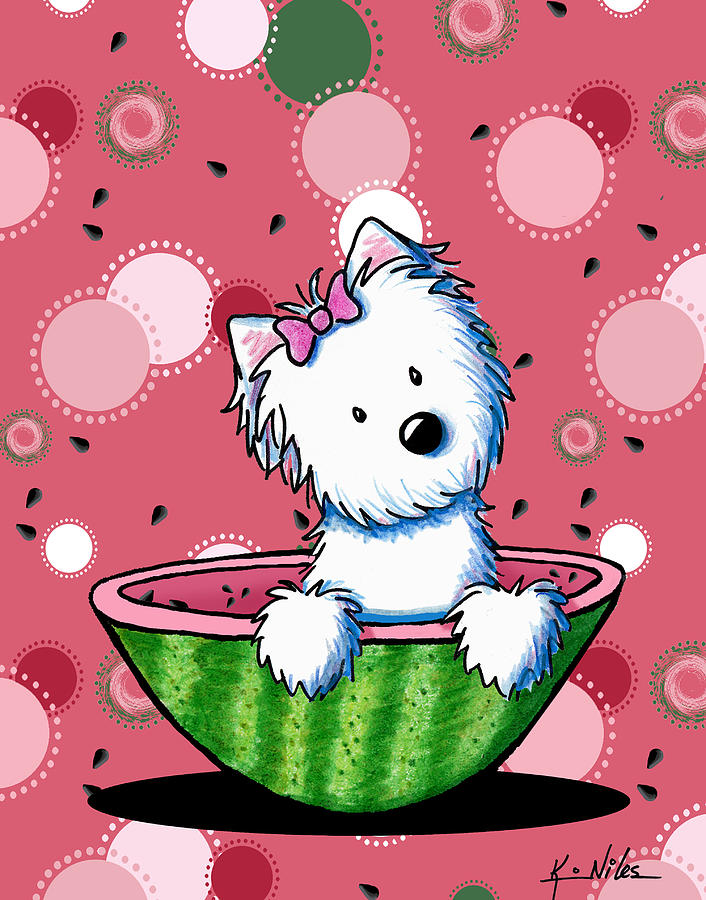 Watermelon Westie Girl Drawing  - Watermelon Westie Girl Fine Art Print