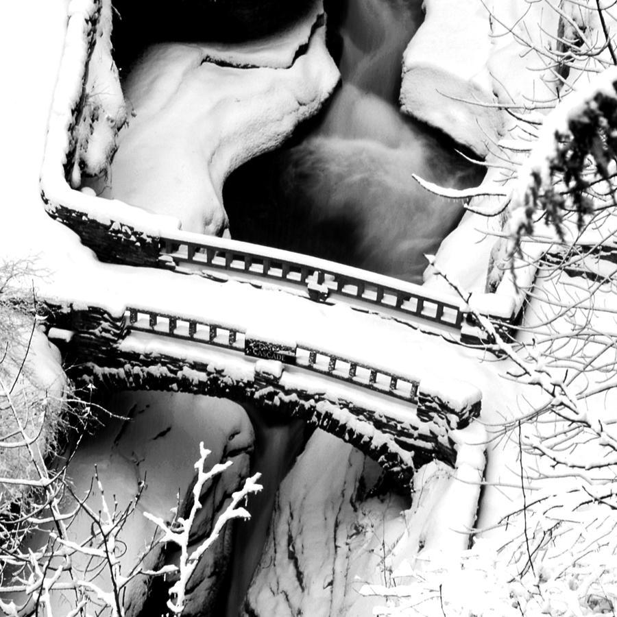 Watkins Glen Gorge Bridge In Winter Photograph