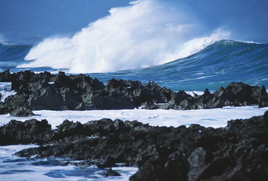 Waves And Rocks Photograph