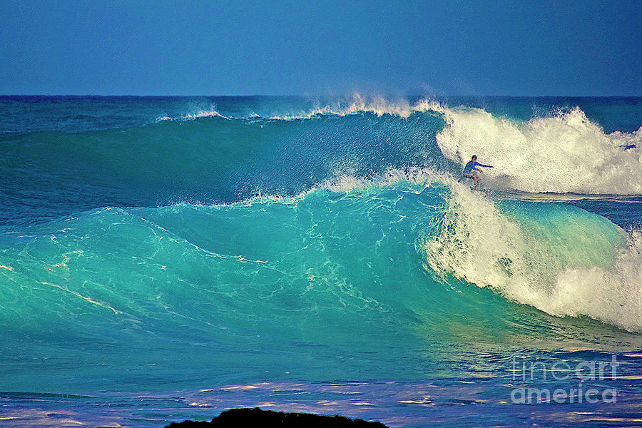 Waves And Surfer In Morning Light Photograph  - Waves And Surfer In Morning Light Fine Art Print