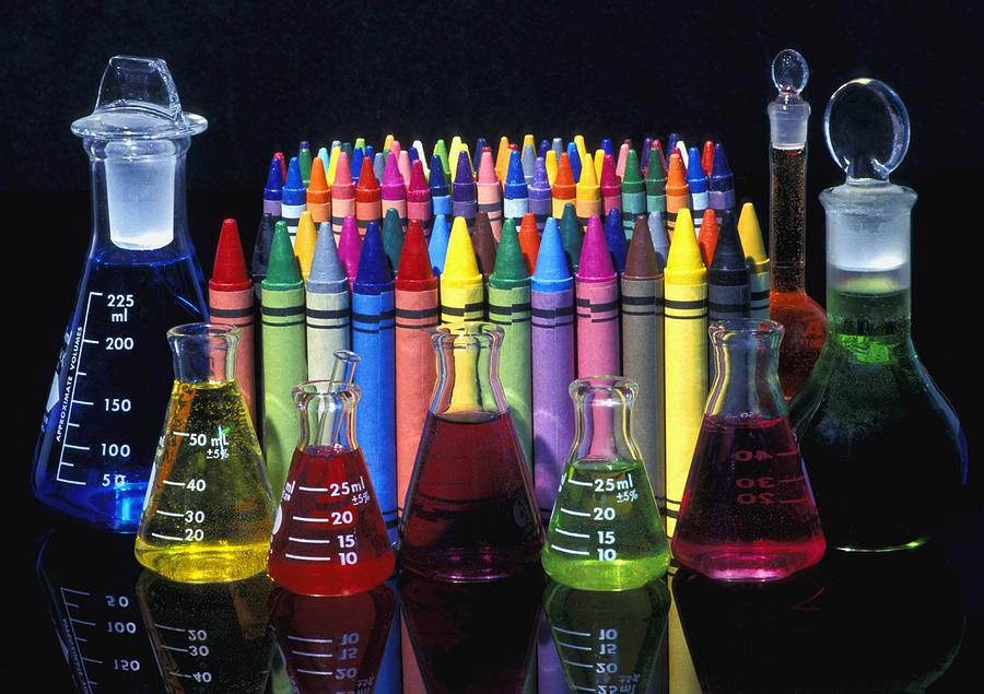 Wax Crayons And Measuring Flasks Photograph